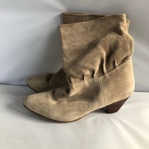 Vintage Gray Suede Slouch Booties Size 8